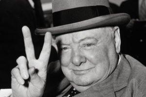 Sir Winston's V sign